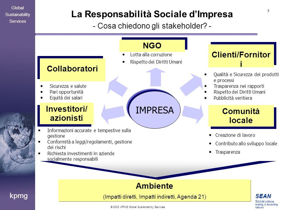 La Responsabilità Sociale d'Impresa - Cosa chiedono gli stakeholder -