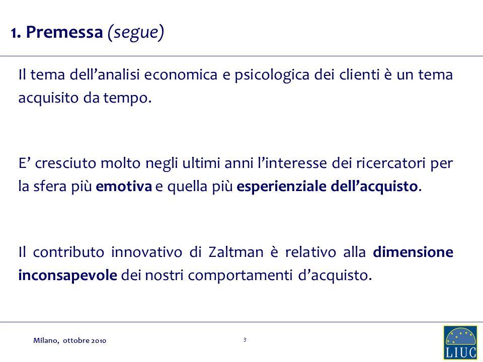 1. Premessa (segue) Il tema dell'analisi economica e psicologica dei clienti è un tema acquisito da tempo.