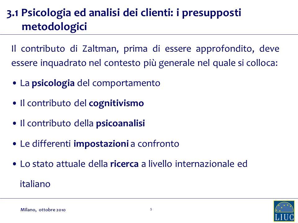 3.1 Psicologia ed analisi dei clienti: i presupposti metodologici