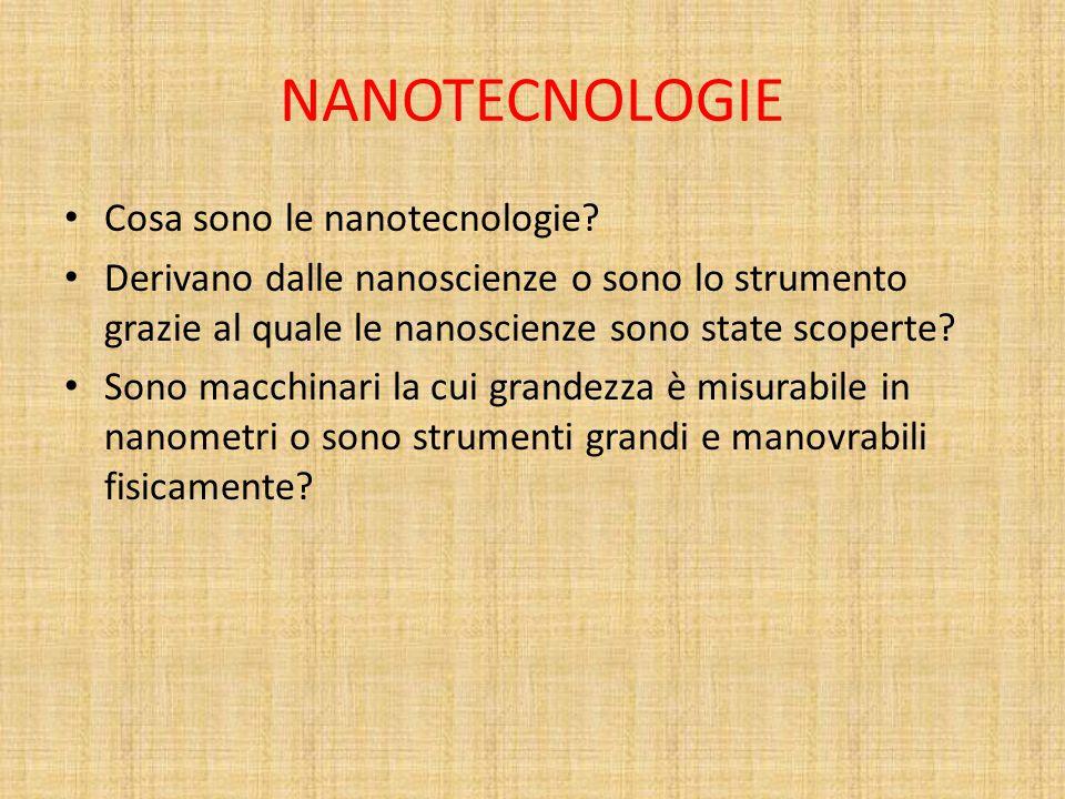 NANOTECNOLOGIE Cosa sono le nanotecnologie