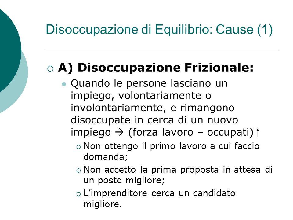 Disoccupazione di Equilibrio: Cause (1)