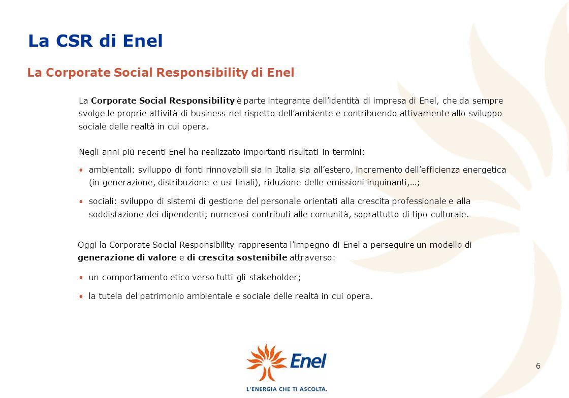 La CSR di Enel La Corporate Social Responsibility di Enel