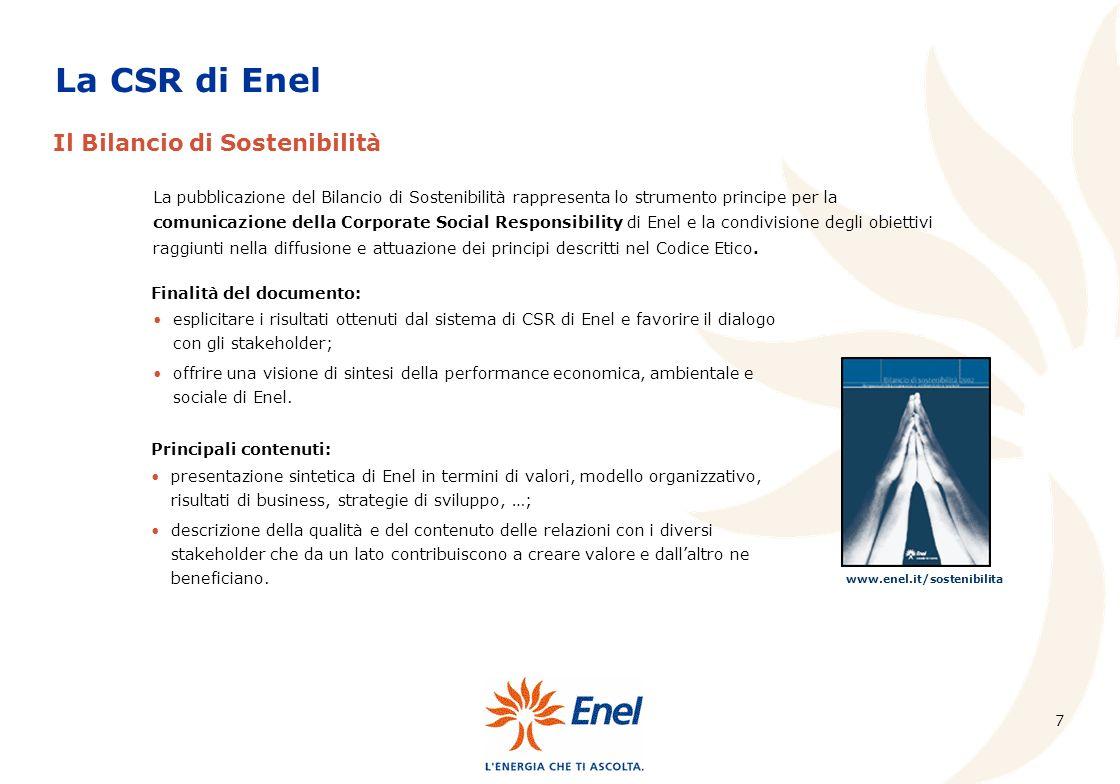 La CSR di Enel Il Bilancio di Sostenibilità