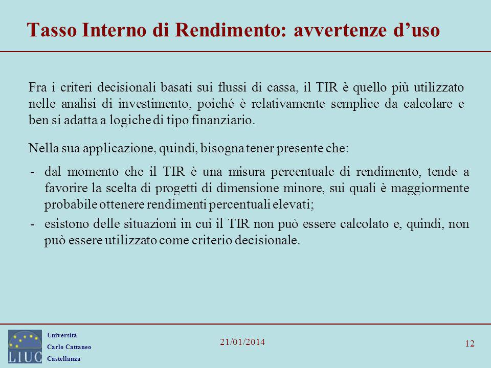 Tasso Interno di Rendimento: avvertenze d'uso