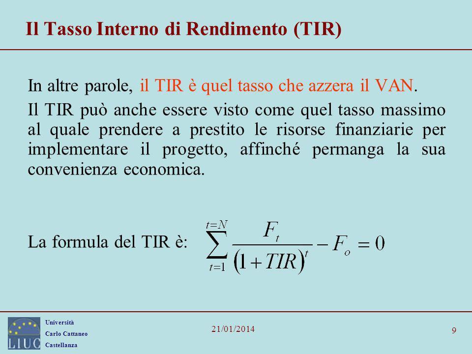 Il Tasso Interno di Rendimento (TIR)