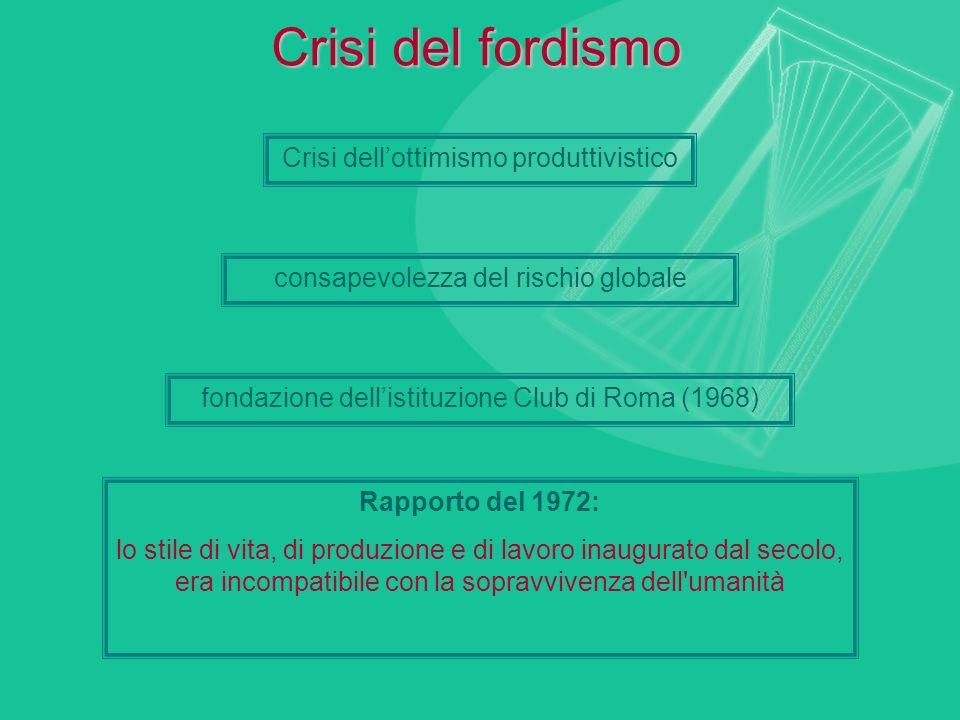 Crisi del fordismo Crisi dell'ottimismo produttivistico