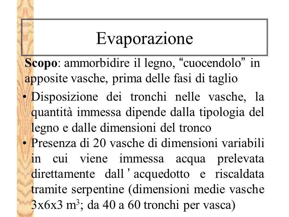 Evaporazione Scopo: ammorbidire il legno, cuocendolo in apposite vasche, prima delle fasi di taglio.
