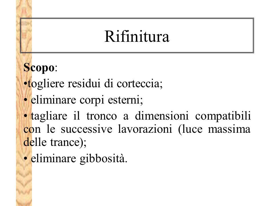 Rifinitura Scopo: togliere residui di corteccia;