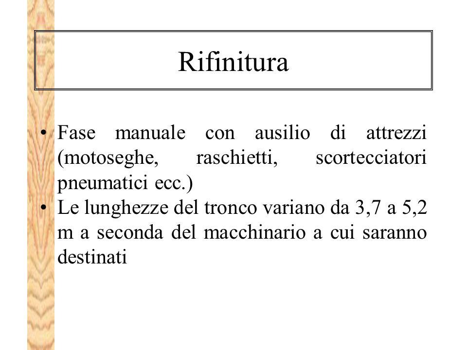 Rifinitura Fase manuale con ausilio di attrezzi (motoseghe, raschietti, scortecciatori pneumatici ecc.)