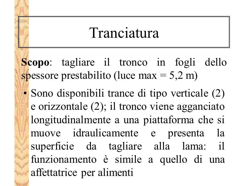 Tranciatura Scopo: tagliare il tronco in fogli dello spessore prestabilito (luce max = 5,2 m)