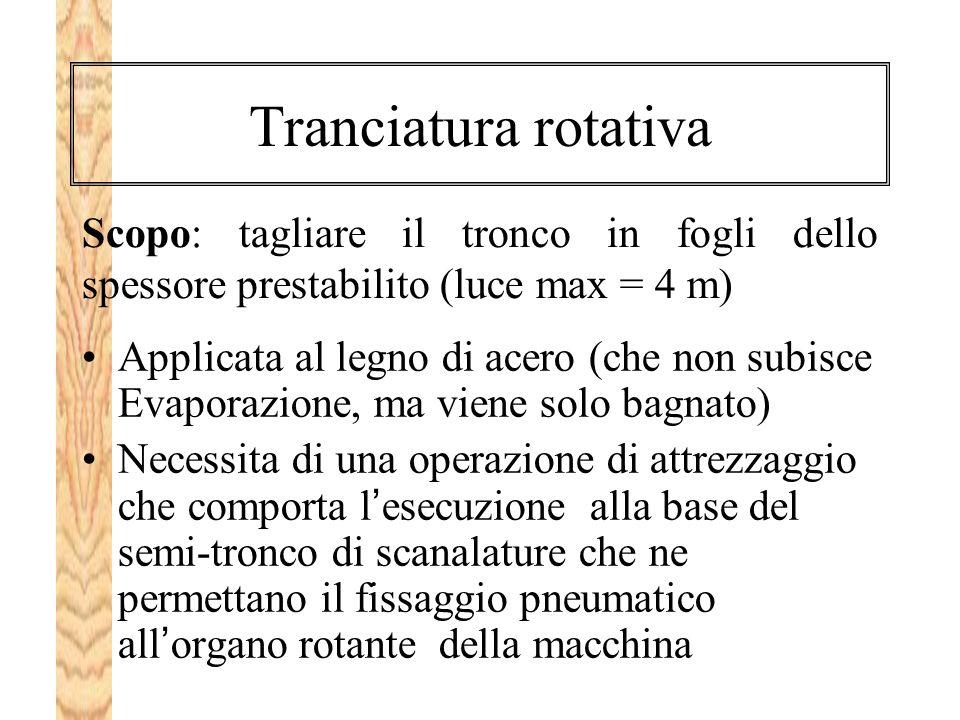 Tranciatura rotativa Scopo: tagliare il tronco in fogli dello spessore prestabilito (luce max = 4 m)