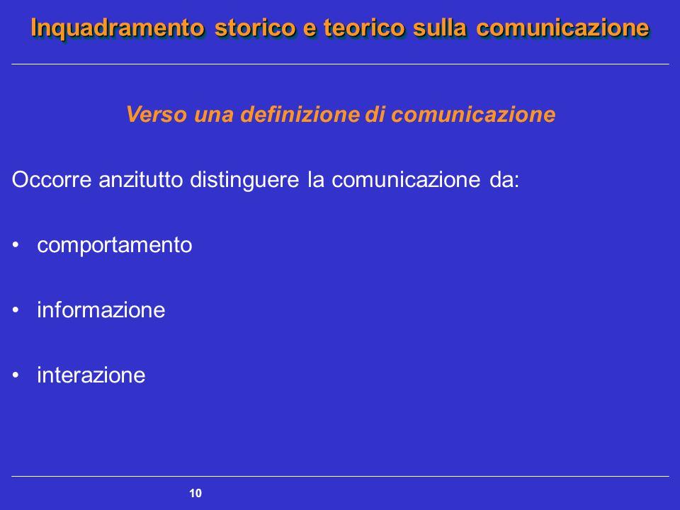 Verso una definizione di comunicazione