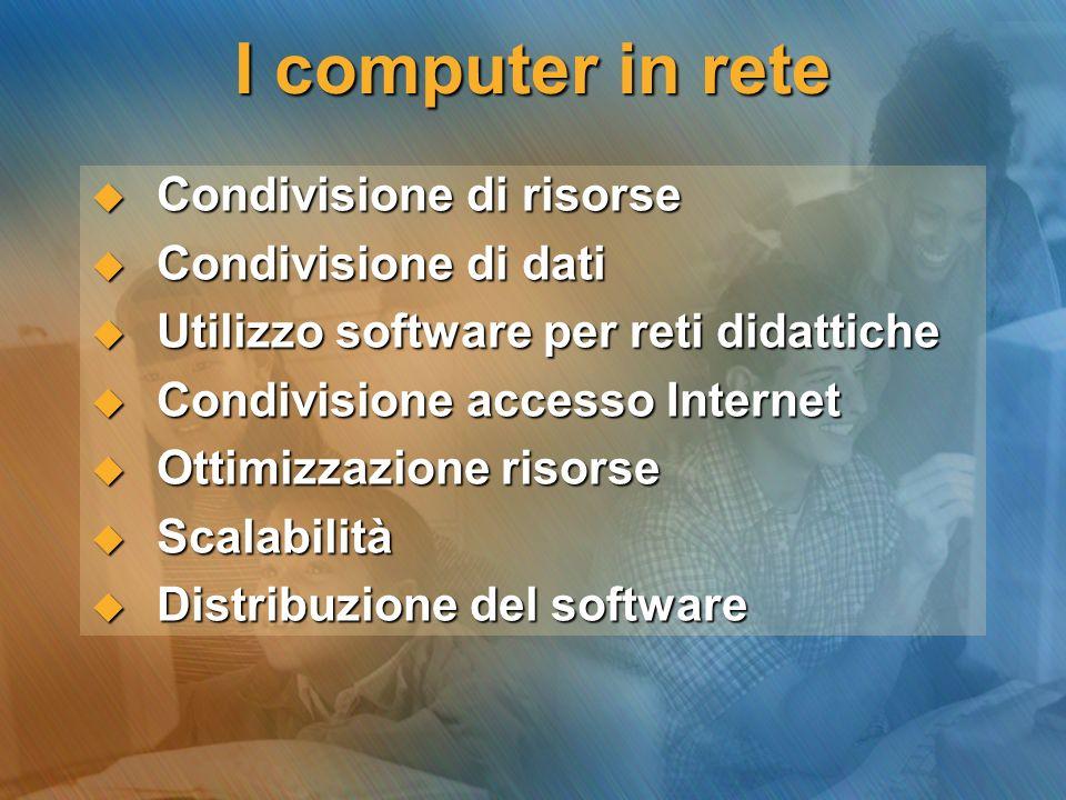 I computer in rete Condivisione di risorse Condivisione di dati