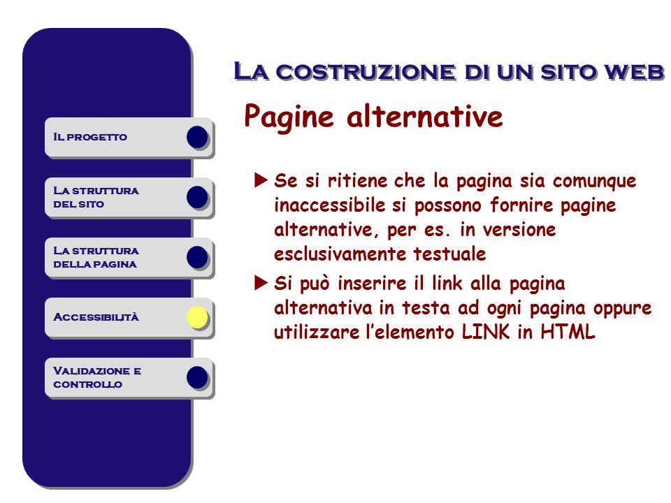 Pagine alternative La costruzione di un sito web