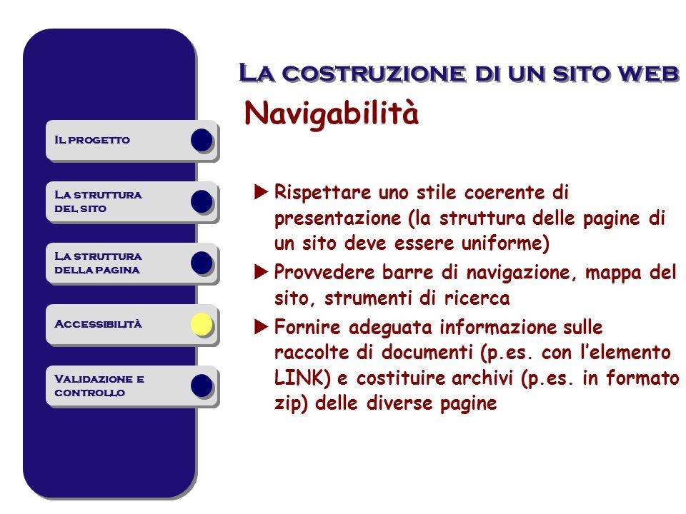 Navigabilità La costruzione di un sito web