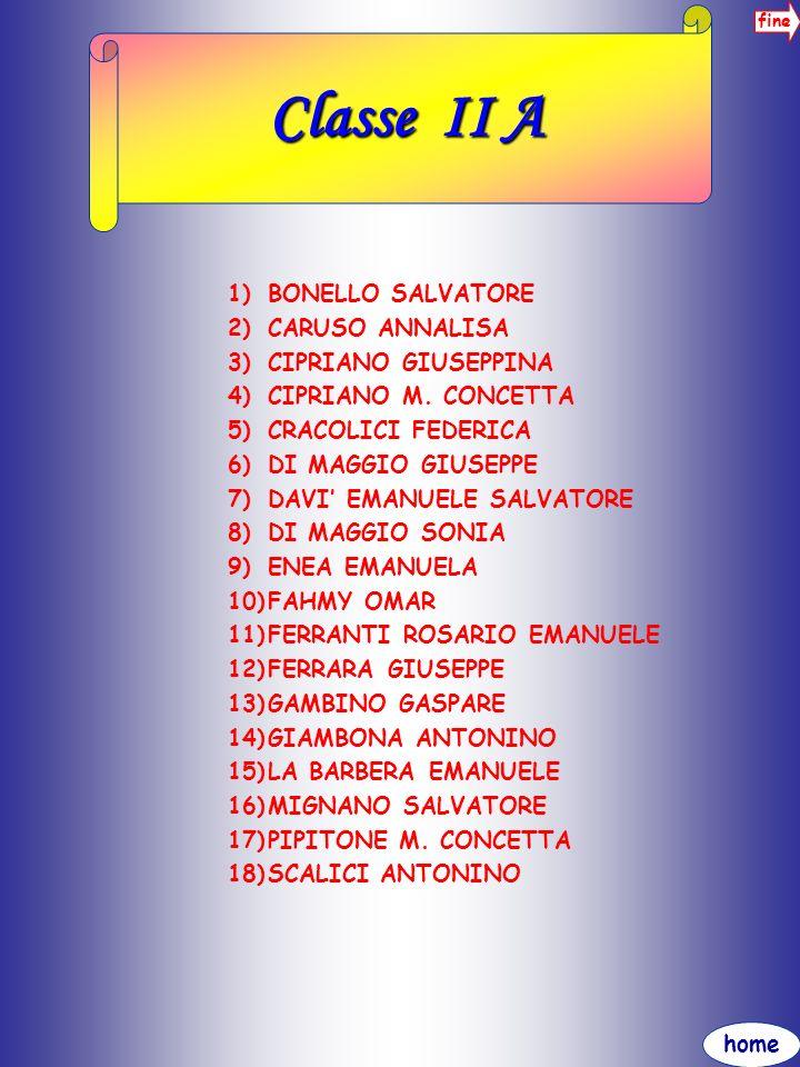 Classe II A BONELLO SALVATORE CARUSO ANNALISA CIPRIANO GIUSEPPINA