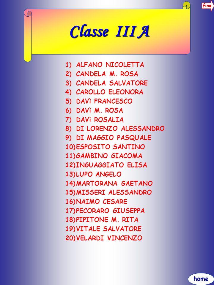 Classe III A ALFANO NICOLETTA CANDELA M. ROSA CANDELA SALVATORE
