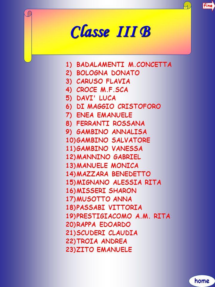 Classe III B BADALAMENTI M.CONCETTA BOLOGNA DONATO CARUSO FLAVIA