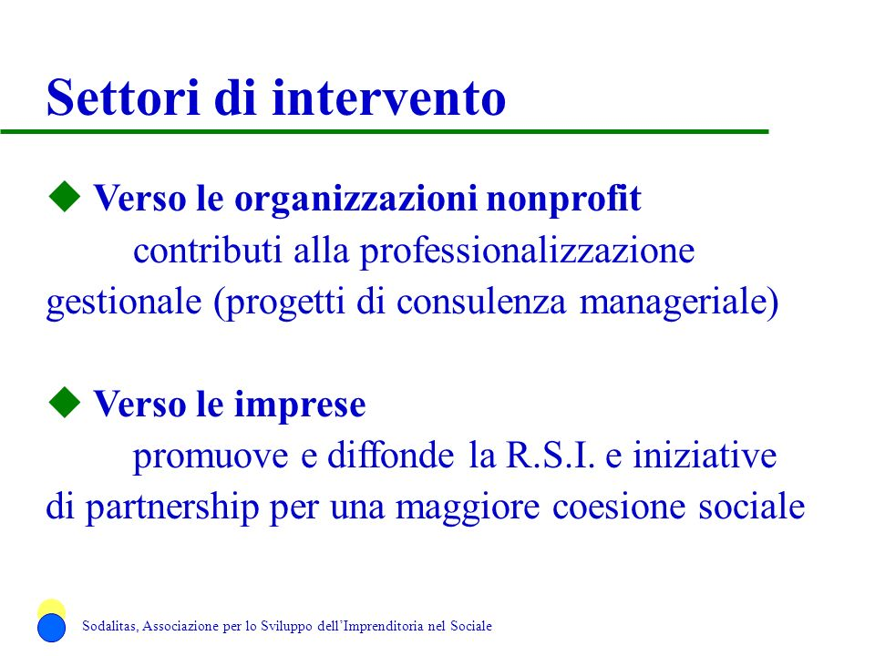 Settori di intervento Verso le organizzazioni nonprofit