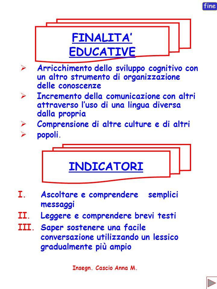 FINALITA' EDUCATIVE INDICATORI