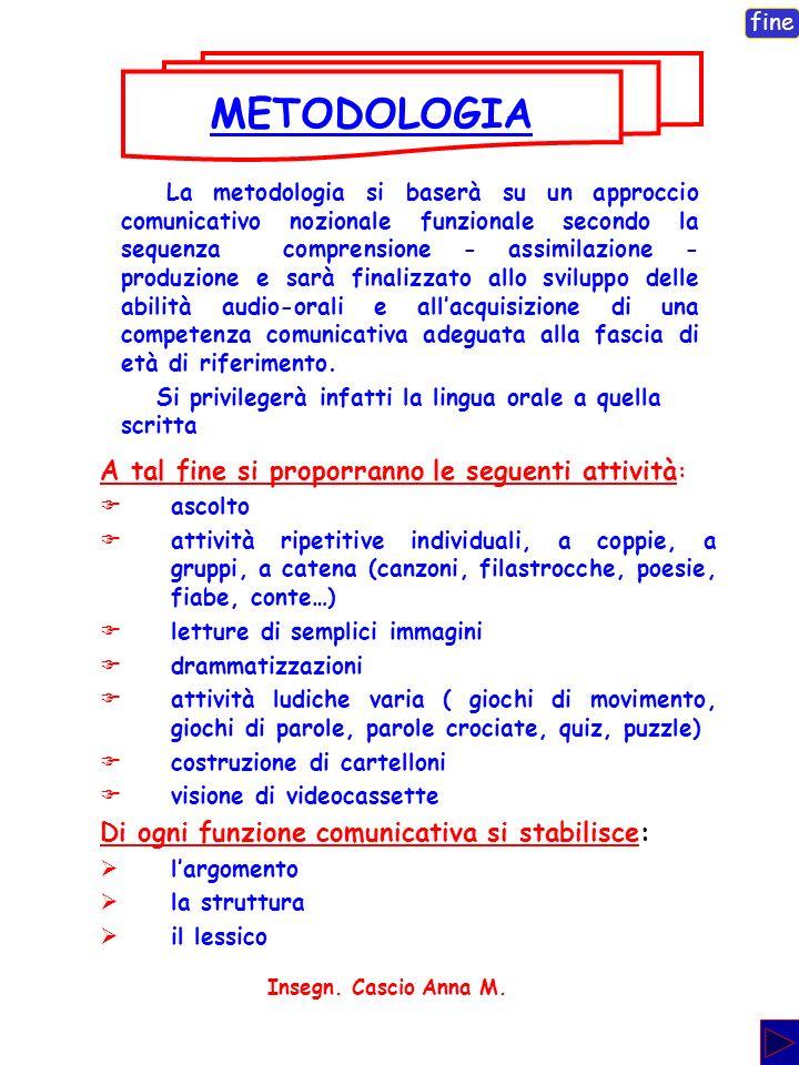 METODOLOGIA A tal fine si proporranno le seguenti attività: