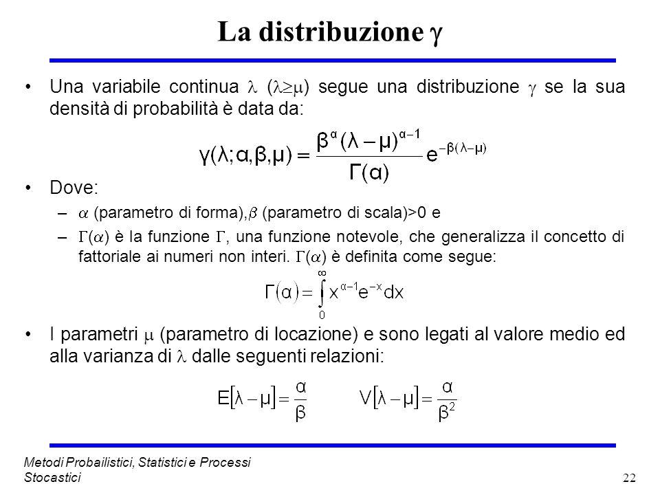 La distribuzione  Una variabile continua  () segue una distribuzione  se la sua densità di probabilità è data da: