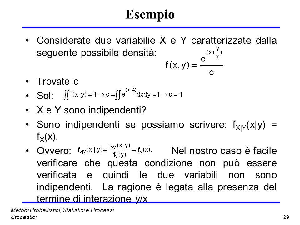 Esempio Considerate due variabilie X e Y caratterizzate dalla seguente possibile densità: Trovate c.