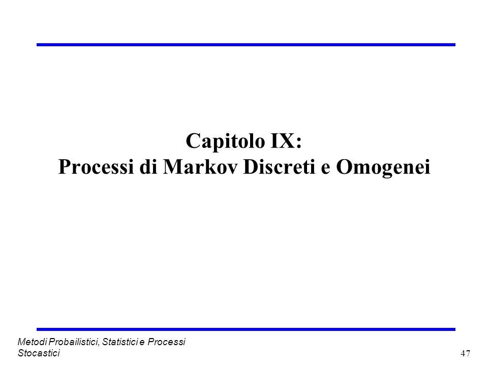 Capitolo IX: Processi di Markov Discreti e Omogenei