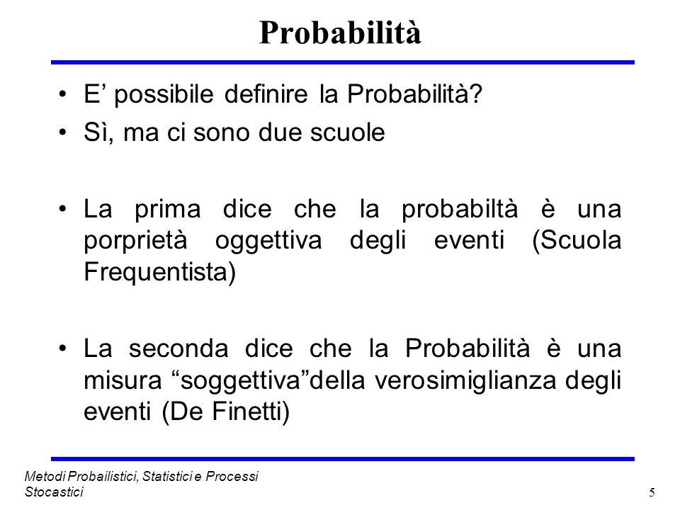 Probabilità E' possibile definire la Probabilità