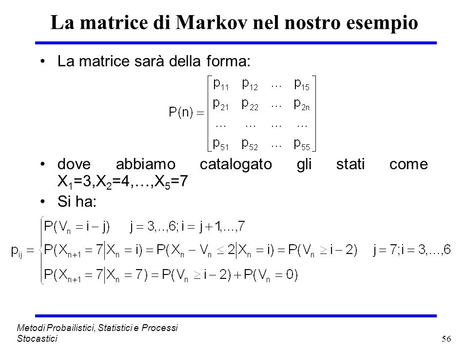 La matrice di Markov nel nostro esempio