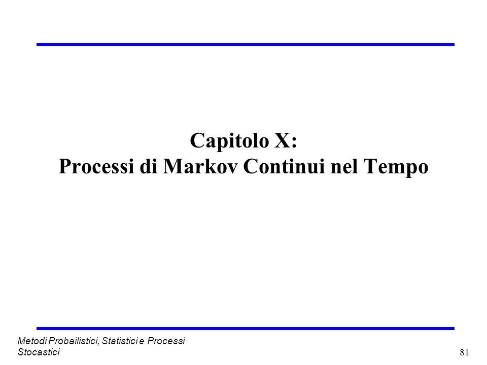 Capitolo X: Processi di Markov Continui nel Tempo