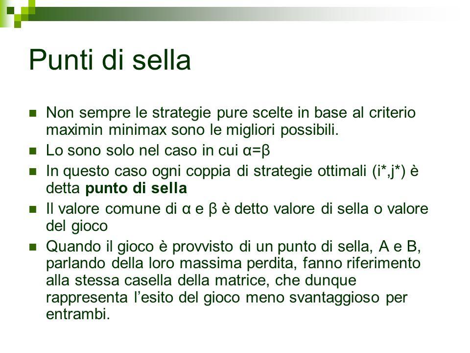 Punti di sellaNon sempre le strategie pure scelte in base al criterio maximin minimax sono le migliori possibili.