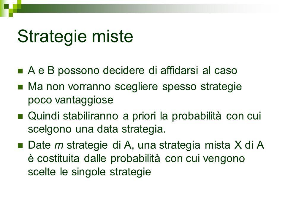 Strategie miste A e B possono decidere di affidarsi al caso