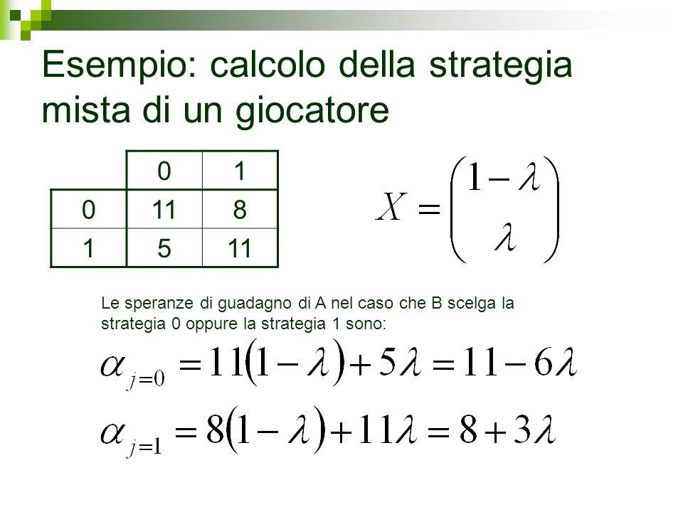 Esempio: calcolo della strategia mista di un giocatore