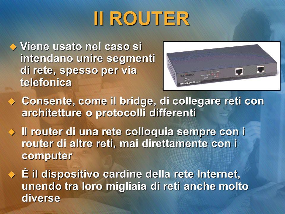Il ROUTER Viene usato nel caso si intendano unire segmenti di rete, spesso per via telefonica.