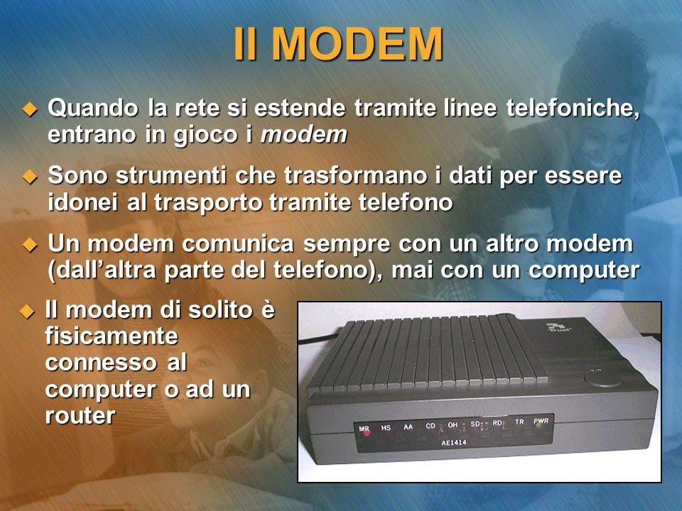 Il MODEM Quando la rete si estende tramite linee telefoniche, entrano in gioco i modem.