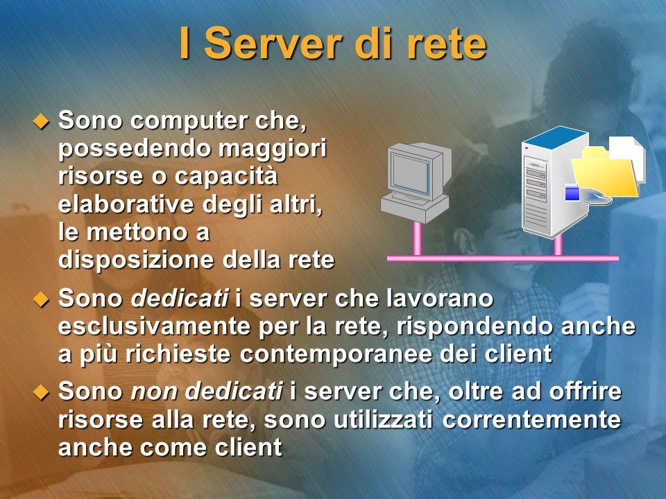 I Server di rete Sono computer che, possedendo maggiori risorse o capacità elaborative degli altri, le mettono a disposizione della rete.