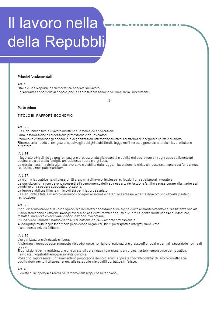Il lavoro nella Costituzione della Repubblica Italiana