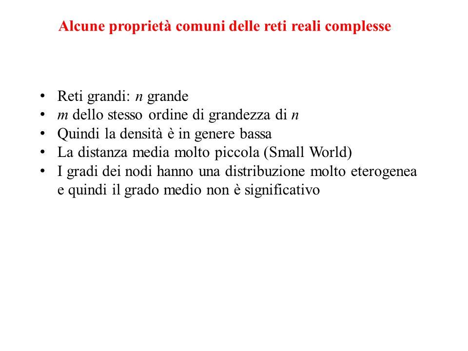 Alcune proprietà comuni delle reti reali complesse