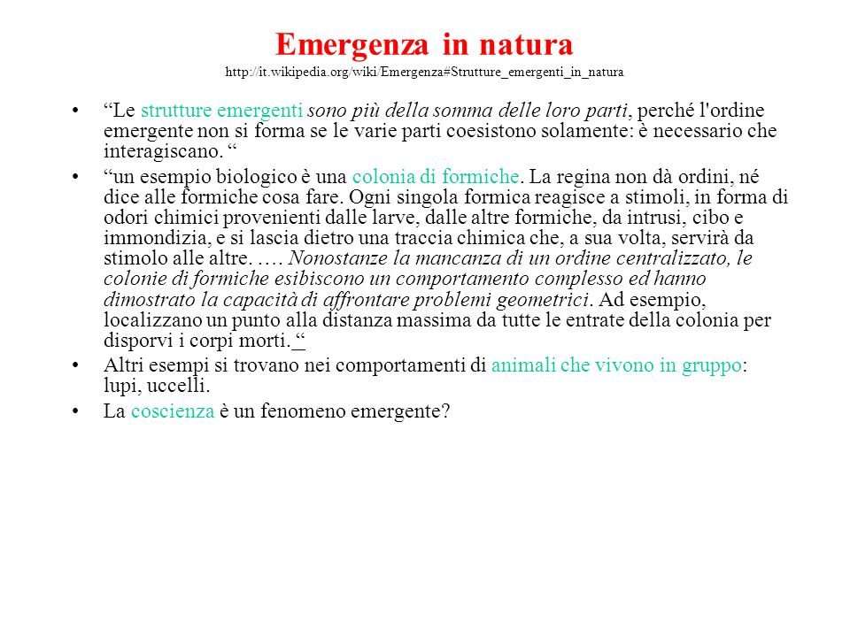 Emergenza in natura http://it. wikipedia