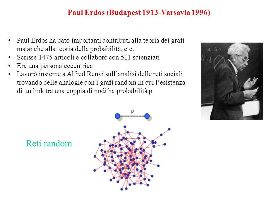 Reti random Paul Erdos (Budapest 1913-Varsavia 1996)