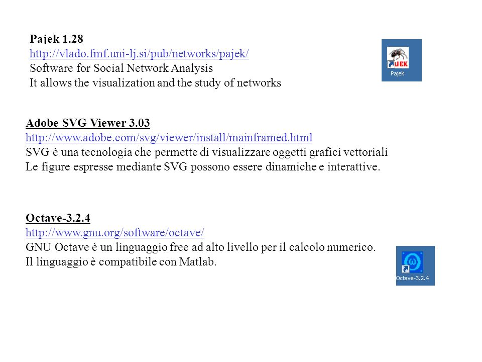 Pajek 1.28 http://vlado.fmf.uni-lj.si/pub/networks/pajek/ Software for Social Network Analysis.