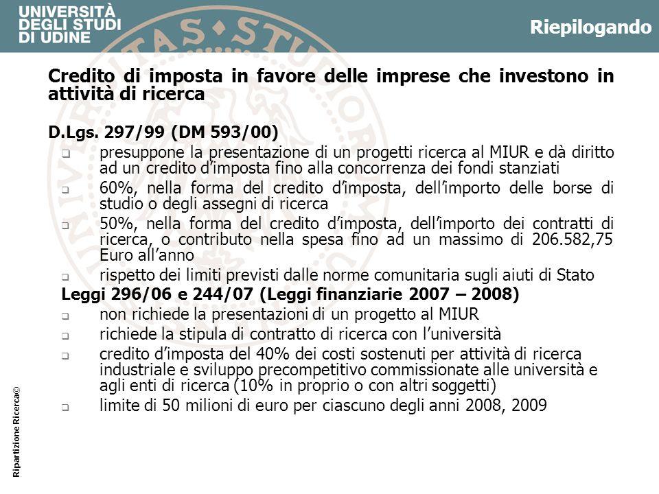 Riepilogando Credito di imposta in favore delle imprese che investono in attività di ricerca. D.Lgs. 297/99 (DM 593/00)