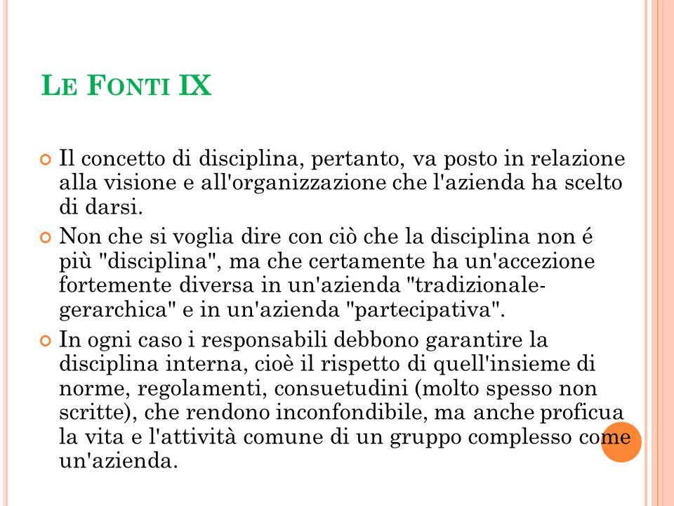 Le Fonti IX Il concetto di disciplina, pertanto, va posto in relazione alla visione e all organizzazione che l azienda ha scelto di darsi.