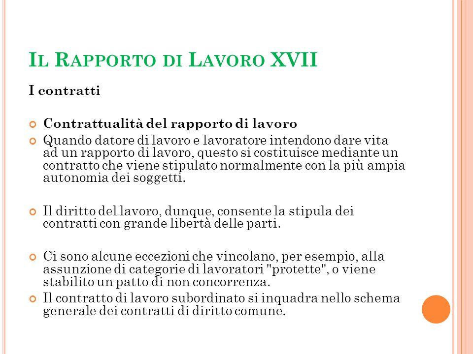 Il Rapporto di Lavoro XVII