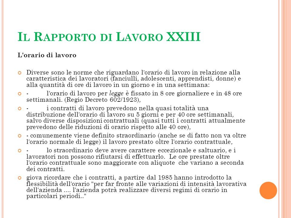 Il Rapporto di Lavoro XXIII