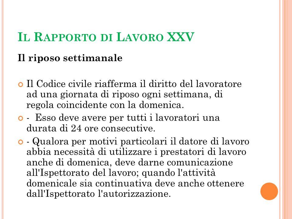 Il Rapporto di Lavoro XXV