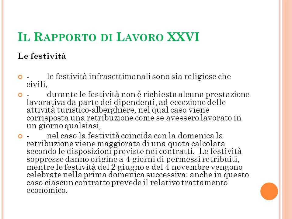 Il Rapporto di Lavoro XXVI