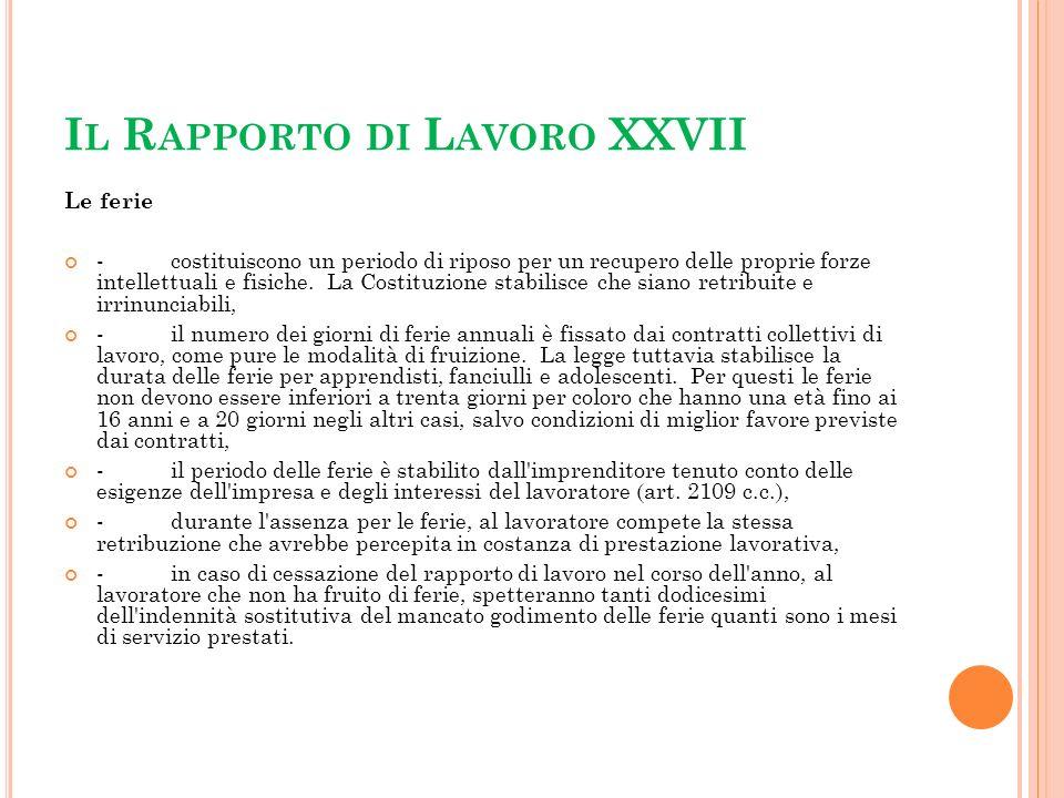 Il Rapporto di Lavoro XXVII