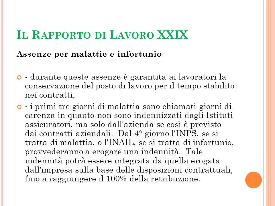 Il Rapporto di Lavoro XXIX